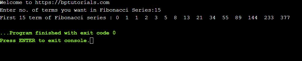 Fibonacci series in C