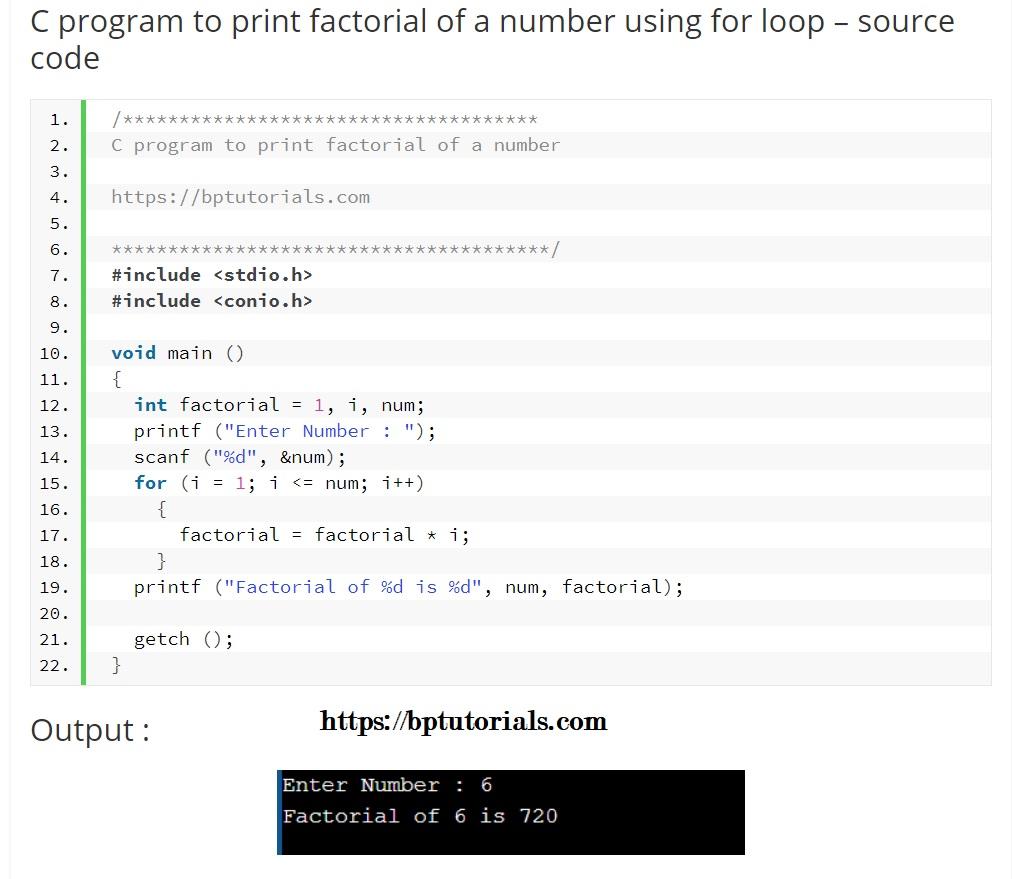 factorial program in c