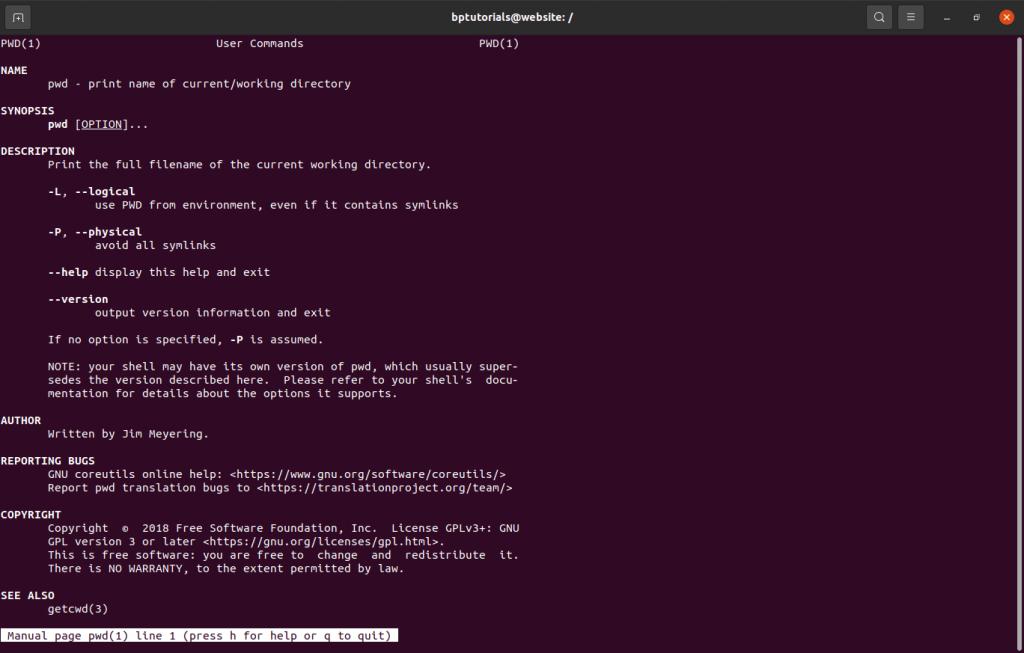 man command details Linux Unix